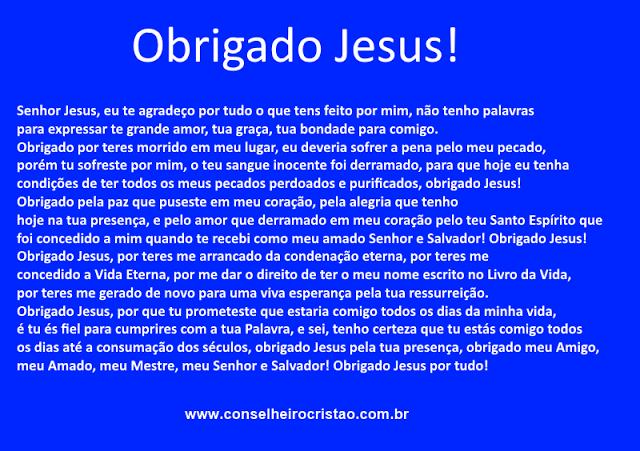ObrigadoJesusportudo - Oração de agradecimento, Obrigado Jesus!